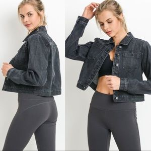 Jackets & Blazers - Slightly Distressed Charcoal Denim Jean Jacket